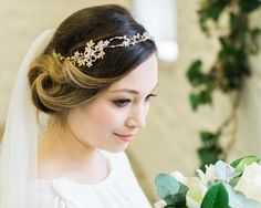 Gold leaf and crystal hair vine, diana 6 Wedding Hair Updo With Veil, Wedding Hairstyles For Medium Hair, Wedding Hair Half, Wedding Hair Colors, Wedding Hair Pieces, Wedding Hair Accessories, Gold Accessories, Updo With Headband, Headband Hairstyles