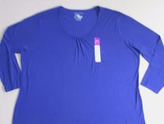 JMS Women Top 5X Blue Solid  Casual Long Sleeves Cotton 17119 #JMS #Blouse #Casual