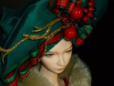 Holiday BJD Doll hat OOAK Couture Doll hat Seasonal by susanlake1, $130.00