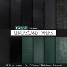 Chalkboard digital paper: CHALKBOARD PAPERS with by Grepic on Etsy