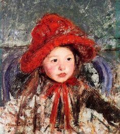 mary cassatt little girl in a large red hat painting