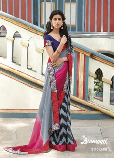 Trio colored – Gray, pink  maroon pallu with its embroidary border patti is a glamour part of the whole saree. It's Unique !