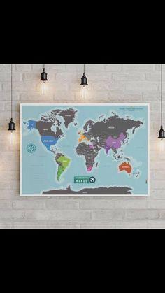 Mapa de Raspar Decoração de viagem