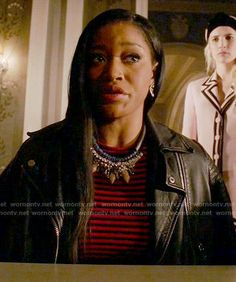 Zayday's red striped top and leather jacket on Scream Queens.  Outfit Details: http://wornontv.net/54606/ #ScreamQueens