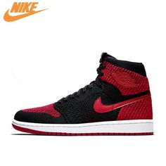 540448279c052d Nike Air Jordan 1 Flyknit AJ1 Men s Breathable Original New Arrival  Official Basketball Shoes Sports Sneakers 919704-001