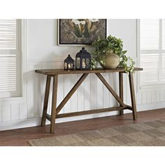 For a trendy rustic accent to upgrade your home, this Altra Bennington console table is your perfect match. Classic sawhorse legs and a lightly distressed finish make it ideal for a casual living room or entryway.