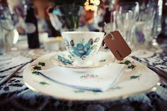 Vintage china place settings. 1950s tea party wedding ©maria farrelly Photography