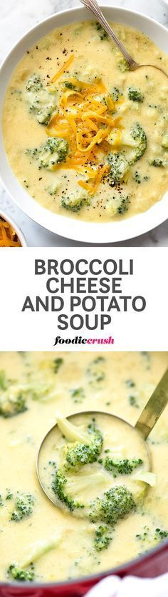 Still dreamy and incredibly creamy, but lightened up in the load, this cheesy potato and broccoli soup leaves the cream right out of it | foodiecrush.com
