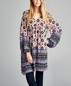 Another great find on #zulily! Black & Coral Geometric V-Neck Tunic - Plus #zulilyfinds