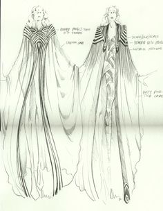 "The designs for the cape that Florence is going to wear for her first stop in Ireland on her new ""Ceremonials"" tour (btw, I got these sketches online; they're by Alex Noble).  Aren't they gorgeous?  I really like the pattern for the one on the right."