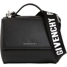 Givenchy Women Mini Pandora Box Logo Strap Leather Bag ($1,620) ❤ liked on Polyvore featuring bags, handbags, shoulder bags, bolsas, givenchy, black, bolsos, real leather purses, leather shoulder bag and leather handbags #handbagsandpurses