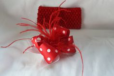 Red and White boutique spikey hair bow with FREE by fashionbaby, $9.99