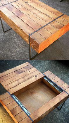 Secret 4x4 compartment table Loft Furniture, Timber Furniture, Pallet Furniture Plans, Furniture Projects, Furniture Design, Wood Projects For Kids, Diy Pallet Projects, Pallet Ideas, Project Ideas