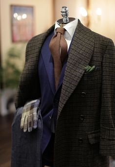 Tweed Shawl Coat, Blue Blazer, Tweed Tie, Wool/Silk Pocket square