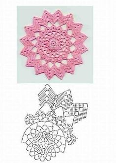 Collection of many cool crochet diagrams for flowers and doilies Filet Crochet, Mandala Au Crochet, Beau Crochet, Crochet Doily Diagram, Crochet Circles, Crochet Doily Patterns, Crochet Chart, Crochet Squares, Crochet Home
