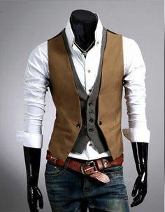 Vintage fashion checkered stitching two false design men's vest Waistcoat jacket | eBay
