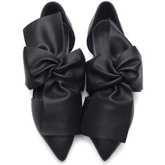 Yoins Black Leather Look Bowknot Pointed Toe Flat Shoes ($35) ❤ liked on Polyvore featuring shoes, flats, embellished flats, pointed toe shoes, embellished black flats, black pointy toe flats and flat pumps