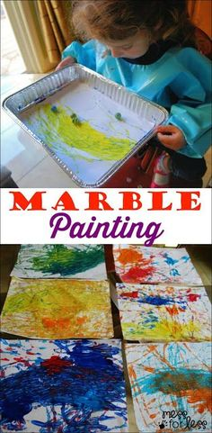 Marble Painting - fun art activity for preschoolers. My kids loved doing this fun kids craft. #artpainting