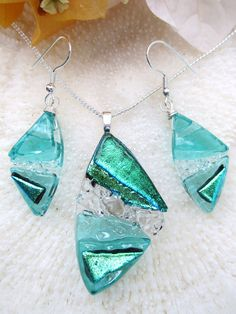 Sea green dichroic art glass jewelry set