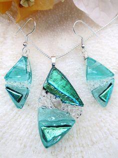 Sea green dichroic art glass jewelry set