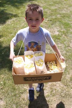 Hire a little helper to sell popcorn!