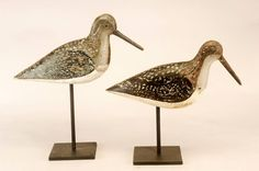 Here's a rarity--dowitcher shorebird decoys in fall plumage from Cape Cod, ca. 1900. Unusual species for the area + rigmate shorebirds are uncommon. For sale;details here: http://www.rjgantiques.com/Product.aspx?invno=18379