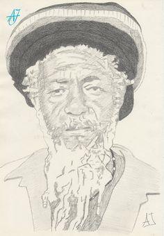 """#AJ_ Título: """"Jamaicano"""". Retrato de un señor cualquiera, que representa el #rastafarismo y el estereotipo jamaicano. #Grafito #6B sobre papel.  Porque no todos somos iguales, la colección acoge 16 retratos de personas de diferentes orígenes entre los que encontramos varios españoles, una brasileña, una polaca, y muchos más.  De la Colección #RealidadesenBlancoyNegro la obra #Jamaicano. Desde #Benalmádena, #Málaga, @AmparoJurado85, #Docente2.0 #aj_informa."""