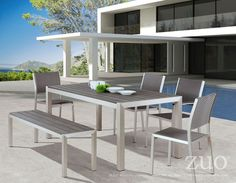Zuo Modern 701861  Metropolitan Dining Table Brushed Aluminum