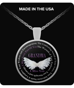 "Grandma I Miss You Necklace - *** ""The Comforting Sound of Your Voice, Your Infectious Smile & Laughter, Your Wisdom and Encouragement, The Warmth of Your Embrace, Your Strength and Courage, I Miss Every Part Of You""   ** >>>Also: Aunt, Brother, Dad, Daddy, Daughter, Gigi, GrandDaughter, Grandma, Grandpa, GrandSon, Husband, Mimi, Mom, Mom and Dad, Mommy, Nana, Niece, Nephew, Papa, Pop, Pops, Poppop, Poppy, Sister, Son, Uncle, Wife"