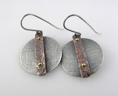 Metal Jewelry Sterling and Copper Earrings Mixed Metal Patina Metalwork Jewelry via Etsy - Mixed Metal Jewelry, Brass Jewelry, Clay Jewelry, Jewelry Art, Sterling Silver Jewelry, Jewelry Design, Silver Ring, Jewlery, Earrings Handmade