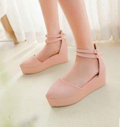 2015 women new fashion spring summer wedges strap cutout sandals princess women's platform buckle shoes