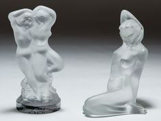 """Lot 258: Lalique Crystal Nude Figurines; Two figurines including one of a nude female and one of nude male and female couple marked """"Happy Third Anniversary With all my love, Michael""""; both have etched Lalique marks"""