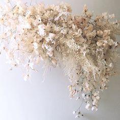 Designs by Hemingway - Honolulu, Hawaii . Our hanging neutral palette dried coastal instal… Dried Flower Arrangements, Dried Flowers, Floral Wedding, Wedding Flowers, Fleur Design, Neutral Wedding Colors, Flower Installation, Hanging Flowers, Deco Design