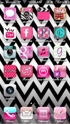 Chevron wall paper  and super cute custom Icons for your iPhone.  Best app ever: CocoPPa