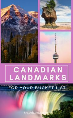 A country with stunning landscapes of mountains, waterfalls and lakes, Canada has a huge selection of natural landmarks. With a rich history and vibrant cities, Canadian landmarks such as CN… Ottawa, Ontario, Vancouver, Toronto, Whistler, Banff, Alberta Canada, Solo Travel, Travel Usa
