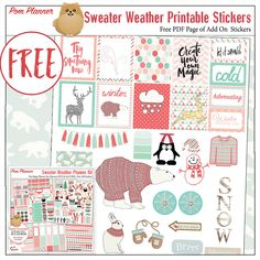 Free Planner Stickers an Add On Pack for the Sweater Wether Planner Kit – Bible Journal Love Project Life, Free Planner, Happy Planner, Planner Ideas, Planner Decorating, Printable Planner Stickers, Washi, Bullet Journal, Sweater Weather