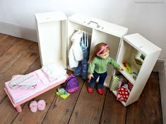 doll furniture Beautiful folding doll bedroom stores a bed, clothes, accessories and a 18 inch doll inside. Opens up on hinges to create a play bedroom. Free plans by Diy Clothes Storage, Baby Storage, Storage Trunk, Storage Ideas, Doll Storage, Baby Doll Bed, Doll Furniture, Furniture Storage, Furniture Ideas