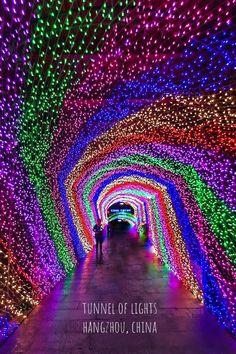 Tunnel of lights 😍 Hangzhou, China. Photo by . Hangzhou, Wanderlust Hotel, Light Tunnel, Neon Party, Destination Voyage, Light Art, Vacation Trips, Travel Trip, Installation Art