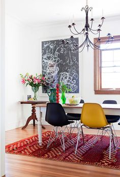dining room country table eames shell chairs