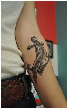 Persevering Your Feather Tattoos ideas: Anchor Feather Tattoo Designs For Girl On Arm ~ Men Tattoos Inspiration