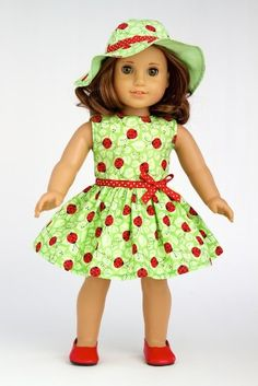 Amazon.com: Ladybug - Summer Dress with Hat and Red Shoes - Clothing for 18 inch Dolls: Toys & Games