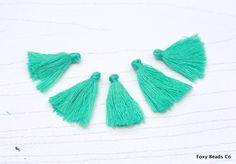 Mini Tassels, 5 Pieces Tiny Jungle Green Tassels - Cotton Tassels - PS019 by…
