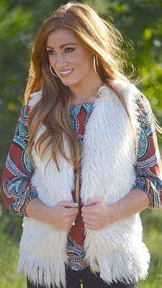 THE most perfect faux fur vest of ALL times! $64 at shopbluedoor.com!