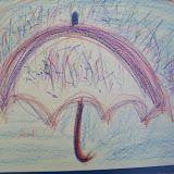 Schrijfdans: schrijfdans 1ste lj juf An thema regenboog