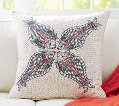 Kissing Fish Embroidered Pillow Cover   Pottery Barn