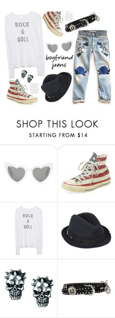 """Borrowed From the Boys 😎🎸"" by badassbabyboomer ❤ liked on Polyvore featuring Yves Saint Laurent, Clinical Care Skin Solutions, Zadig & Voltaire, Versace and boyfriendjeans"