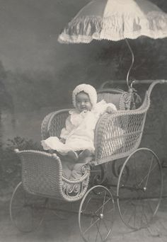 Victorian Baby in Bonnet, Pram and Lace Trimmed Parasol, Antique Photo, For Sale by Anemone Antiques on Ruby Lane