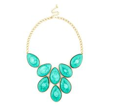 SHORT STONE NECKLACE  Gold chain necklace with oversize turquoise stone pendants and adjustable lobster clasp closure. Pop of color for summer! |Jewelry - Daily Deals|