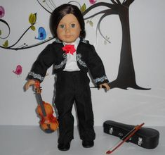 Heres the suit for your boy doll. Logan will look great in this suit. Fiesta Time! The mariachi band is ready to play and sing in the fiestas. Custom tailored Mariachi Charro suit for boy doll or girl that prefers pants for horse back riding. Five-piece suit includes: Lined Jacket, skirt, shirt, bow Charro Suit, Boys Suits, Ready To Play, Boy Doll, Line Jackets, Logan, American Girl, Looks Great, Horse