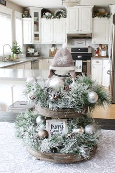 Master Bedroom Decorating Concepts - DIY Crown Molding Set Up Beautiful Modern Farmhouse Christmas Tray. Simple Ideas To Decorate A Tray For Christmas Using Flocked Greenery, Neutral Decorations And Twinkle Lights. Farmhouse Christmas Decor, Christmas Kitchen, Rustic Christmas, Simple Christmas, Christmas Home, Vintage Christmas, Christmas Holidays, Christmas Wreaths, Xmas